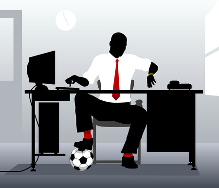 Editable vector illustration of an office worker with a football looking at his watch Vector
