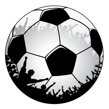 Editable vector illustration of a soccer ball with cheering crowd Vector