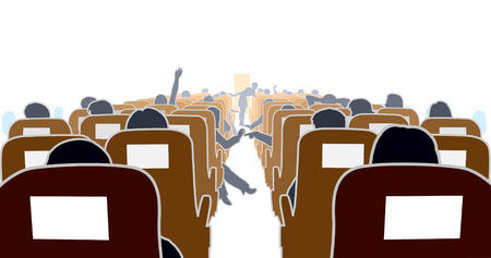 Editable illustration of passengers in an airplane Vector