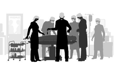doctors and patient: Ilustraci�n editable de una cirug�a en un teatro de funcionamiento