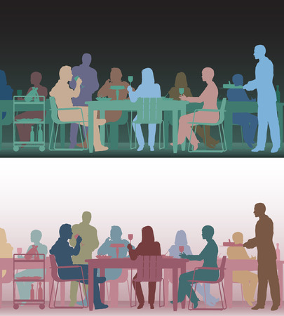 Two color versions of the same editable scene of people eating in a restaurant Vector