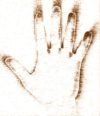 cease: Editable  grunge design of a hand Illustration