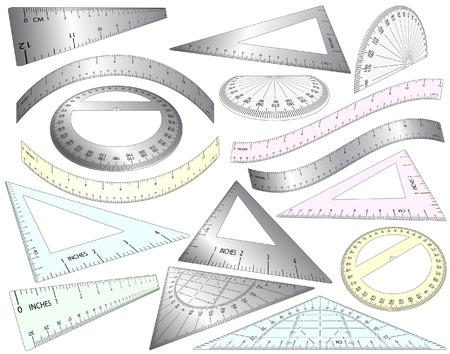角度のついた: 角度と曲げの編集可能な定規、セット正方形およびプラスチックや金属で分度器のセット