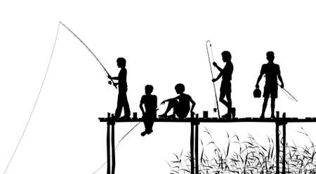 Editable silhouettes of children fishing from a wooden jetty with all elements as separate objects