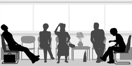 patience: Editable silhouettes of people sitting in a waiting room