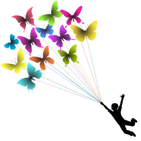 space flight: silhouette of a boy carried by flying butterflies