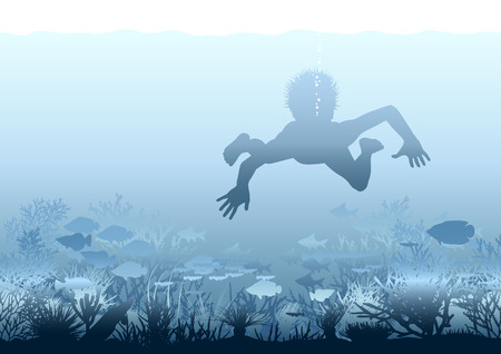 Editable illustration of a boy swimming over a coral reef Vector