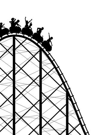 thrill: Editable silhouette of a steep roller coaster ride Illustration