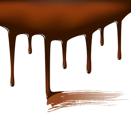 fudge: Editable vector illustration of dripping chocolate sauce with a smear where it has been tasted Illustration