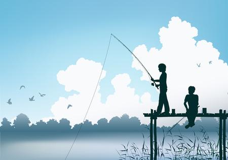 paciencia: Vectorial editable escena de dos muchachos de pesca desde un muelle de madera