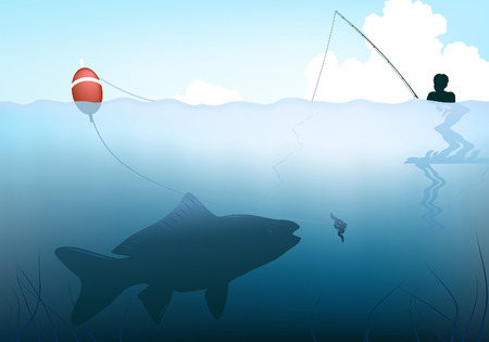 lakeside: Editable vector illustration of a fish about to take the bait from a childs rod