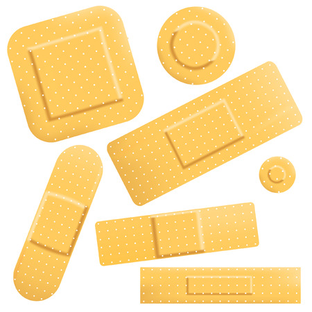 adhesive plaster: Set of editable vector sticky plasters of different shapes
