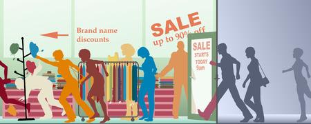 shoppen: Bearbeitbare Vektor-Illustration eines Verkaufs, die Er�ffnung in einem Gesch�ft
