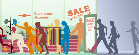entrance: Editable vector illustration of a sale opening at a store