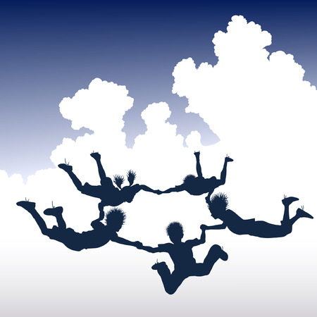 freefall: Editable vector illustration of a ring of skydiving children Illustration