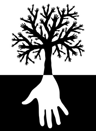 Editable vector design of a tree with branches and roots made of hands