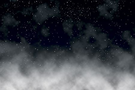 above clouds: Illustration of stars in the night sky above clouds Stock Photo