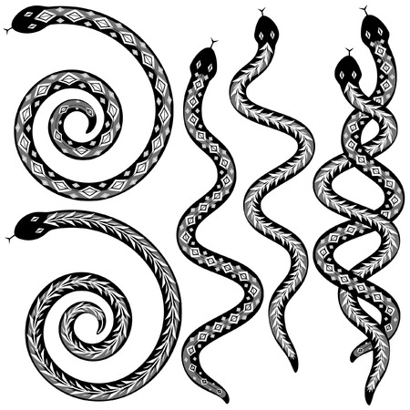 slither: Set of editable snakes designs black and white