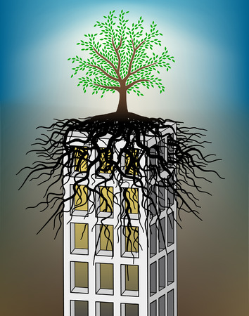 rooted: Editable illustration of a tree growing on a towerblock