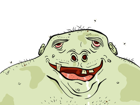slob: illustration of an ugly but happy green man