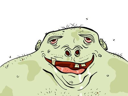 przerażający: Ilustracja brzydki, ale Szczęśliwy czÅ'owiek zielony