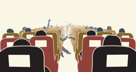 passenger airline: Editable illustration of passengers in an airplane Illustration