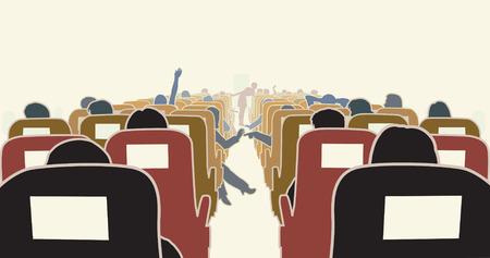 caba�a: Ilustraci�n editable de pasajeros en un avi�n