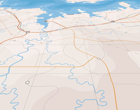 Generic editable map of a coastline with no names Vector