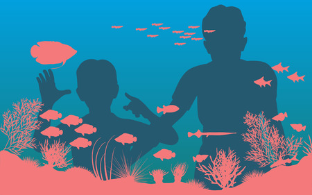 Editable illustration of mother and son looking at fish in an aquarium Vector
