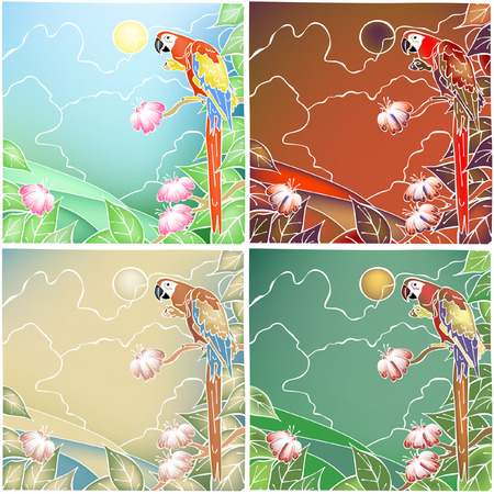 batik: Four color versions of an editable illustration of a macaw parrot in batik style made using gradient meshes
