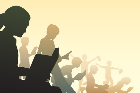 Editable illustration of children reading books Stock Vector - 7551126