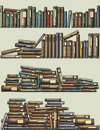 literature: Editable illustrations of rows and piles of books as foreground design elements