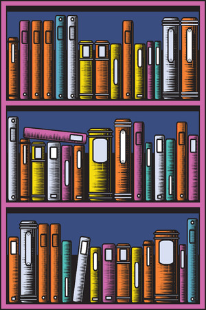 Editable illustration of books in a bookcase with all books as separate objects Vector