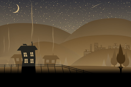 Editable illustration of a night-time landscape Stock Vector - 7551134