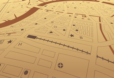 conurbation: Editable streetmap of a generic city with no names Illustration