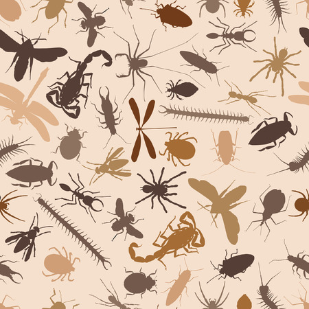 nuisance: Editable seamless tile of various insects and other invertebrates Illustration