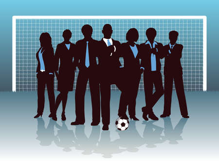 business pitch: Editable illustration of a business team on a soccer pitch