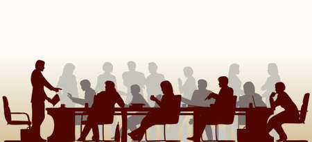 Editable foreground silhouette of people in a meeting with all figures and other elements as separate objects Illustration