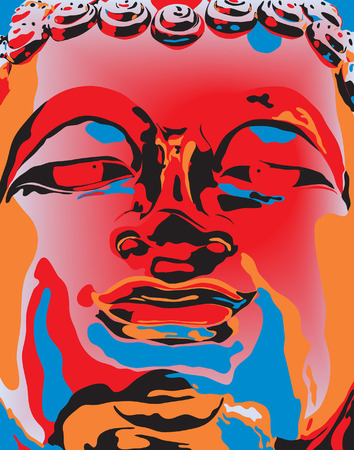 Editable vector illustration of a Buddha statues face in popart color style Vector