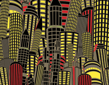 tall building: Editable illustration of tall city buildings at night