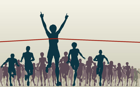 athletics: Editable illustration of a woman winning a race Illustration