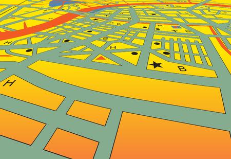 角度のついた: 名前なしでジェネリック市の斜め streetmap  イラスト・ベクター素材