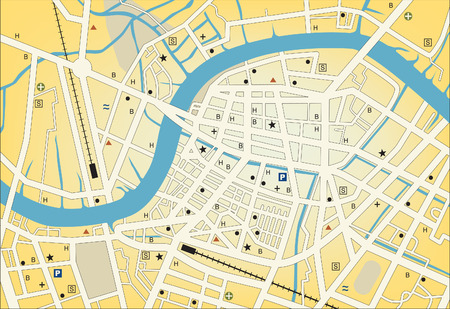 streetmap of a generic city with no names Vector