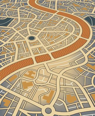 角度のついた: 斜めの視点からの無名地図の編集可能なイラスト