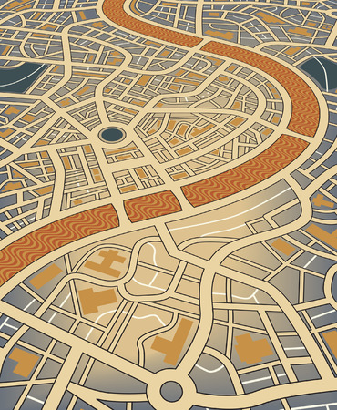 Editable illustration of a nameless street map from an angled perspective Vector