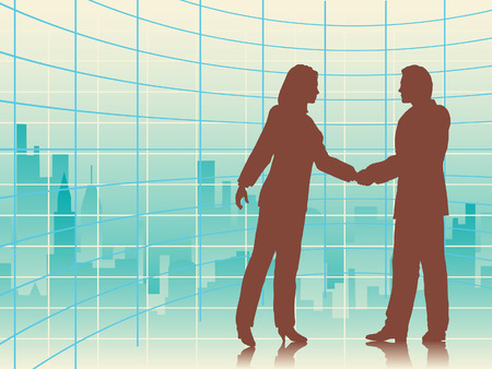 illustration of business people shaking hands with a city background Stock Vector - 7574222