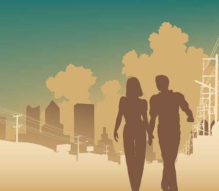 telegraph: illustration of a couple walking along an urban street