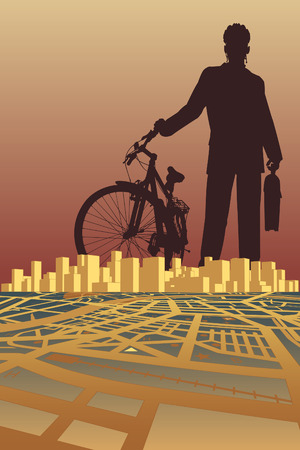 illustration of a businessman and bike silhouette over a city Stock Vector - 7574220
