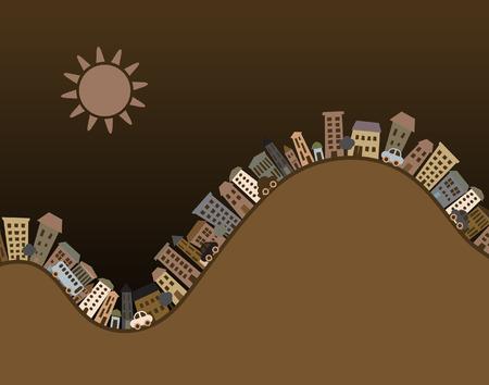 accidentado: Ilustraci�n editable de edificios de dibujos animados con espacio de copia