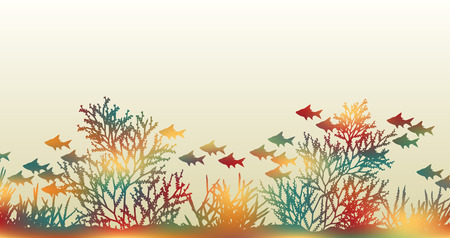 coral reef:  illustration of brightly colored coral and fish made by masking a background color mesh Illustration